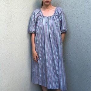 [vintage] 70s stripe gathered cotton prairie dress